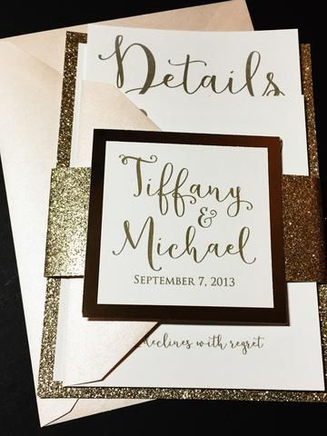 Gold Glitter Wedding Invitation, Luxury Wedding Invitation, Elegant Wedding Invitation, Formal Wedding Invitation, Blush and Gold Glitter Wedding Invitations TIFFANY VERSION