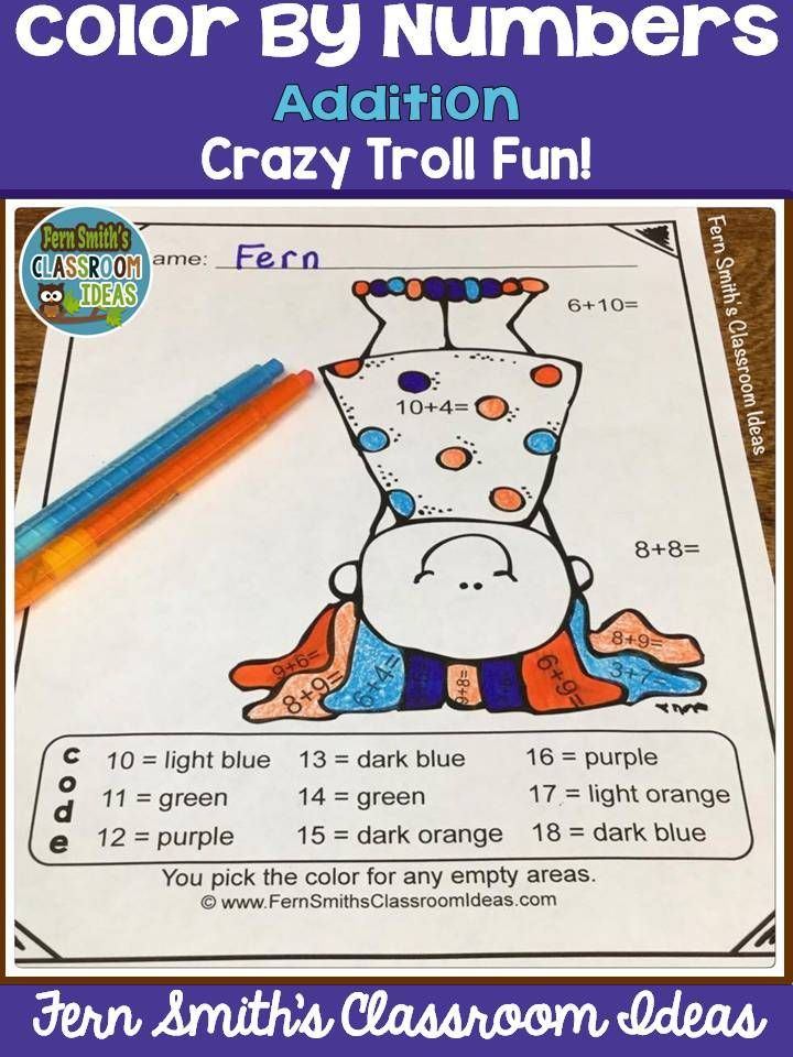 Color By Numbers Trolls Addition – Math Worksheets Go Answers