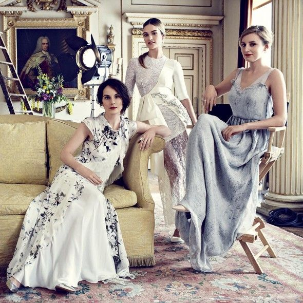 Behind The Scenes: Downton Abbey August issue cover shoot   Harper's Bazaar Michelle Dockery wears Philosophy by Alberta Ferretti, Lily James wears Alexandra Rich and Laura Carmichael wears Calvin Klein Collection.