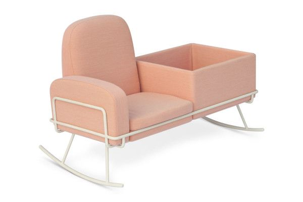 "A pink chair made out of wood and Sofa padding. There is small square to put things in. There are no handles, so its not mobile. But it is like ""swing chair"".Allows to slighty swing."