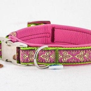 "Leder Halsband ""Fleur de Lis"", 20mm, rosa  26,90€"