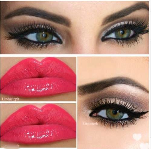 Dark brown smokey eye with winged liner, fake lashes & dramatic pink lips.