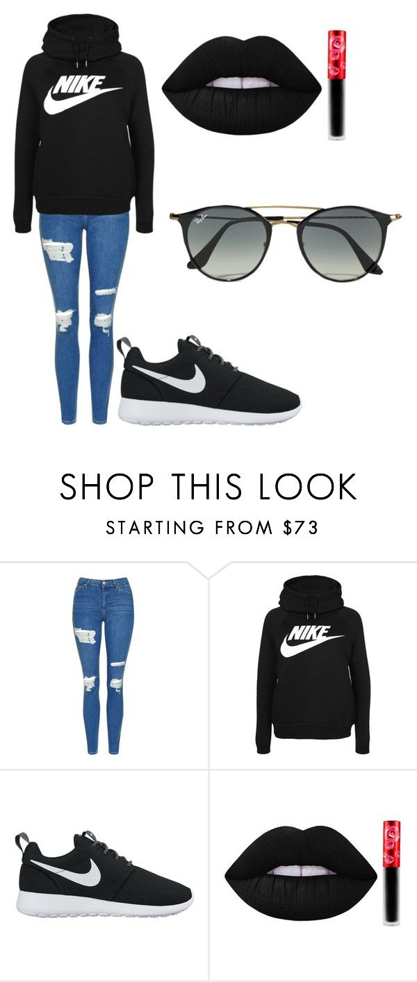 """Untitled #177"" by cruciangyul on Polyvore featuring Topshop, NIKE, Lime Crime and Ray-Ban"
