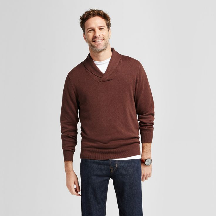 Men's Pullover Shawl Collar Sweater - Goodfellow & Co Rust (Red) Xxl