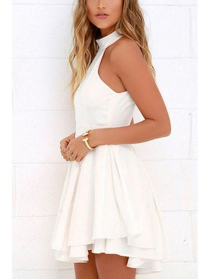 d9819d9ce White High Neck Sleeveless Halter Cutout Back Double Layered Pleated Sexy Skater  Dress #Chic276372_S | WithChic