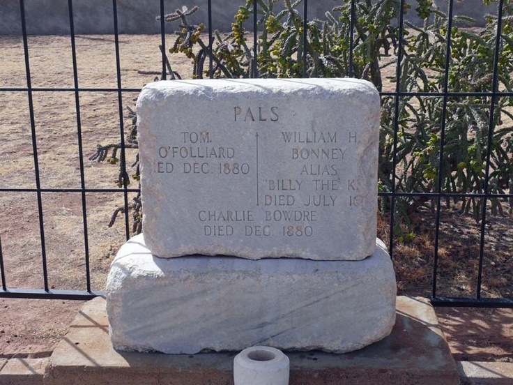"William Bonney, aka ""Billy the Kid,"" was famously shot by Lincoln County Sheriff Pat Garrett in Fort Sumner, New Mexico on July 14, 1881. He was buried in the Old Fort Sumner Cemetery alongside Tom O'Folliard and Charlie Bowdre, two members of the Kid's gang."