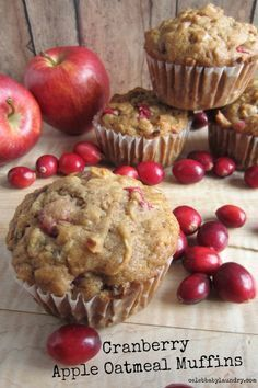 Cranberry Apple Oatmeal Muffins: Looking for a healthy, but yummy recipe to make for the family? Try these delicious Cranberry Apple Oatmeal Muffins!