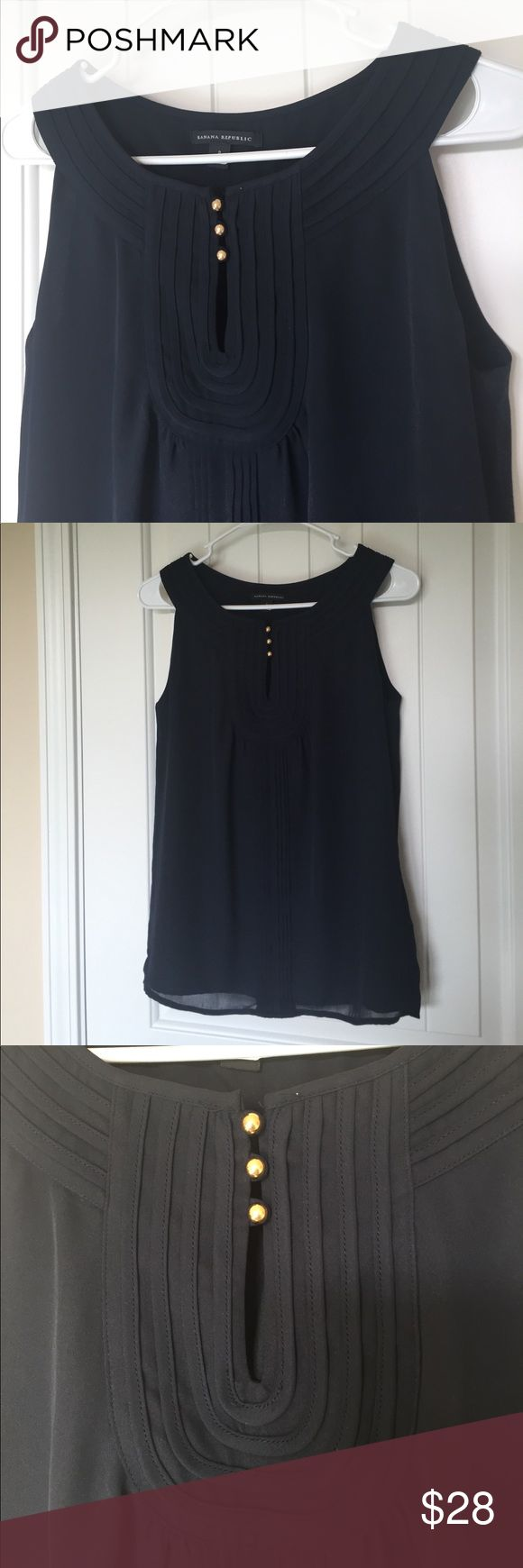 Banana Republic Navy Career tank Like new career top. Navy with gold buttons. Sheer polyester with built in lining. Banana Republic Tops