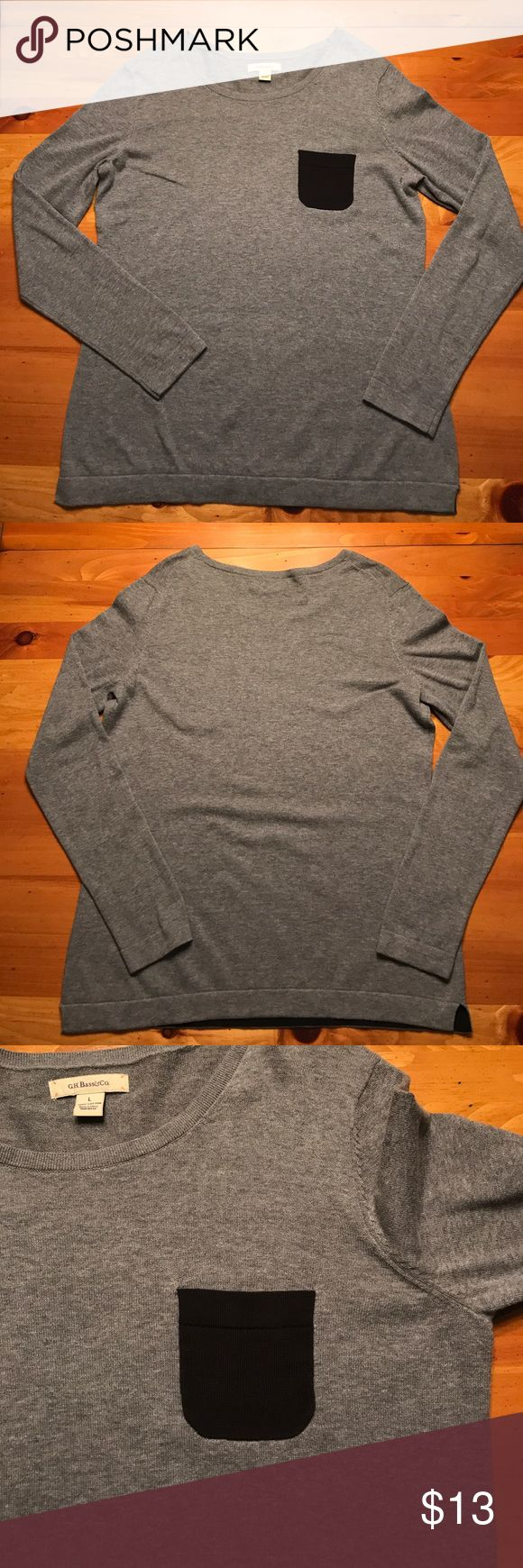 🆕 GH Bass Pocket Sweater Gray long sleeve sweater with black pocket. Gently worn and in good condition with slight wear around the armpit, shown in picture. Armpit to armpit measures 20 inches and the length from the armpit to the bottom hem measures 19 inches. Reasonable offers welcome! Bass Sweaters Crew & Scoop Necks
