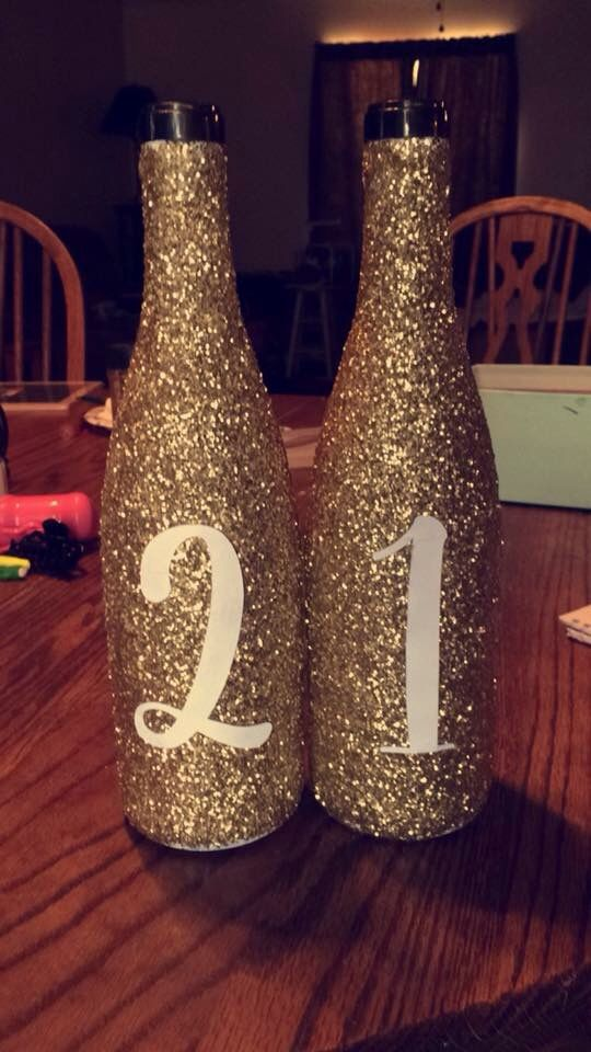 Glitter 21 Birthday Photoshoot Prop Wine Alcohol Bottle