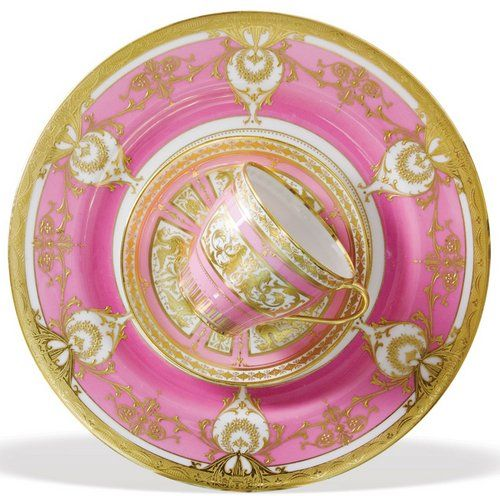12-piece set of Royal Worcester dishware in pink and white with raised gilding. circa 1900