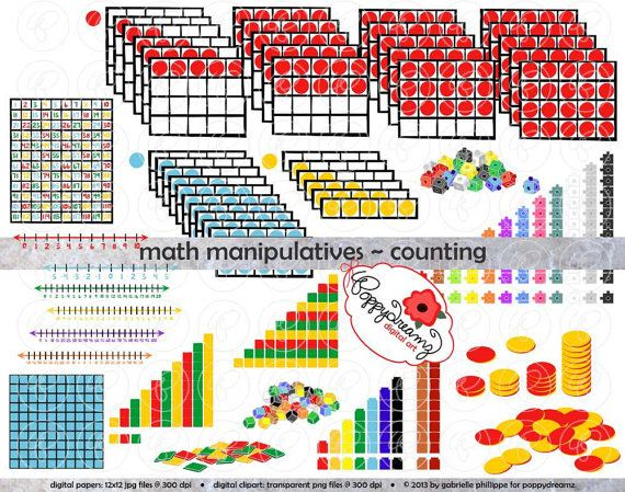 Lots of Math manipulative and teaching clipart!   Math Manipulatives Counting Clipart Mega Bundle Set by poppydreamz, $