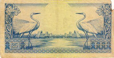 Uang kuno Indonesia pecahan Rp. 25,- (dua puluh lima rupiah) keluaran 1 Djanuari 1959 cetakan Thomas de la Rue & Company Limited