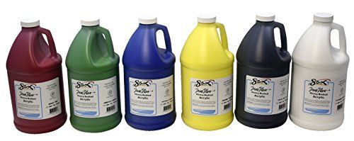 Sax True Flow Heavy Body Acrylic Paint, 1/2 Gallon, Assorted Colors, Set of 6  Sold as a set of 6  Create masterful art pieces with high quality paint  Provides optimal supplies for your personal or classroom work  Offers excellent flow, coverage, blending, and drying  Designed with convenient washable materials