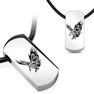 """Halskjede med anheng i stål. Materiale: Kirurgisk stål og kunstig lær. Størrelse: Anheng: 33 x 15 x 7mm. Halskjede: Lengde: 55,5 cm (21,5""""). Bredde: 3 mm.  #herresmykke #lærkjede #anheng #flyingeagle #dogtag"""