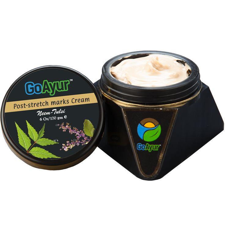Herbal Anti Stretch Marks Cream [ Neem Tulsi ] To Reduce White & Red Stretch Marks - GoAyur.com