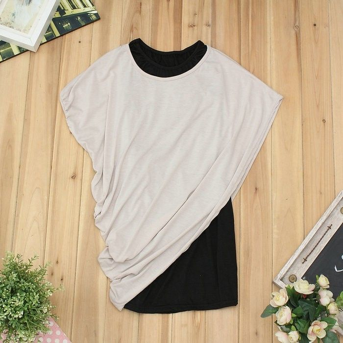 H099 Casual 2 pcs women short Sleeve batwing loose top T-shirt dress size 6 8 10 | eBay