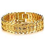 u7® nuevo oro 18k de la alta calidad llena trenzado pulsera de cadena enlace figaro para hombres mujeres 5mm 21cm 2017 - $18017