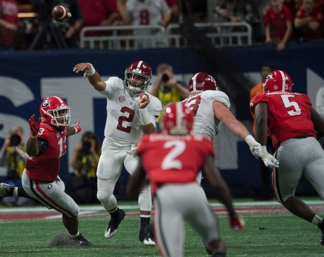 Alabama Quarterback Jalen Hurts 2 Throws The Ball Down Field During The Sec Championship Game At Mercedes Benz Stadium In At In 2020 Alabama Sec Championship Georgia