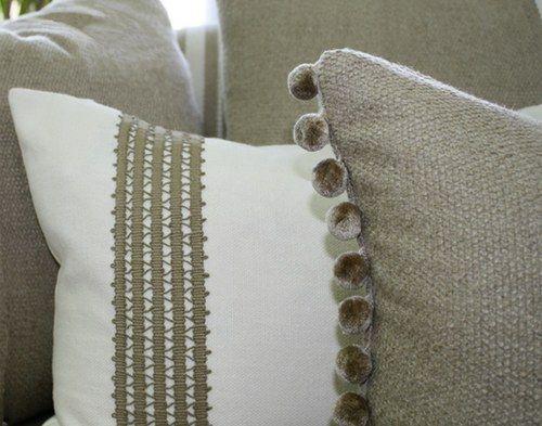Fabric by Unique fabrics: Linen library     Left cushion: Blake, colour Cream     Right cushion: Rustique, colour Dune