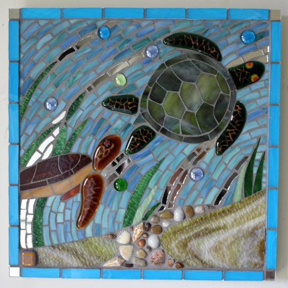 Mosaico vidrieras tortugas marinas Caretta por GlassArtsStudio