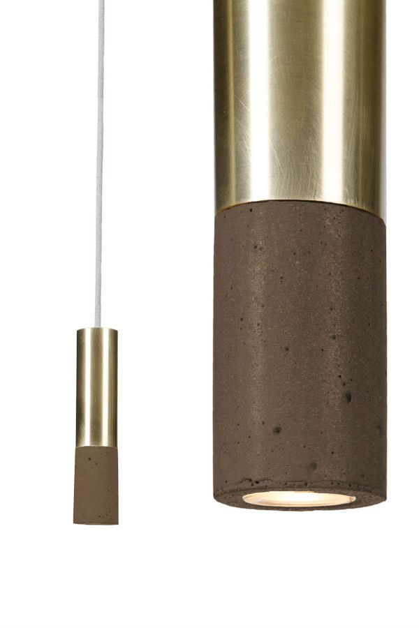 Our new Kalla Inox with brass finish and new darker chocolate colour concrete. #concrete #lamp