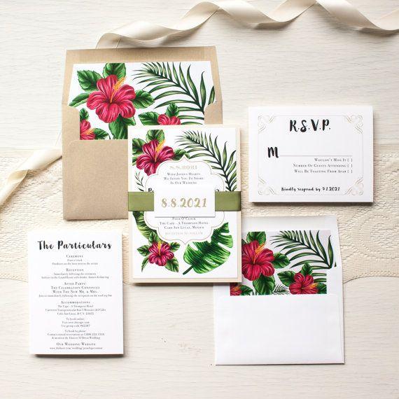 "Tropical Wedding Invitations, Destination, Hawaiian Florals, Gold, Fuchsia, Boho Floral Envelope Liners - ""Tropical Love"" Sample"