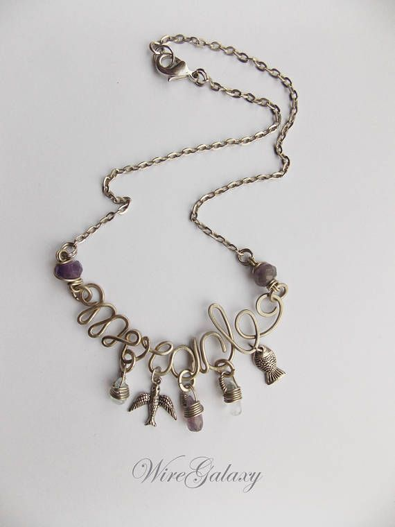Word Necklace Miracle Wire Wrap Word Name Everyday Necklace Charms Wire Wrapped Custom Word Wearable Art jewelry Anniversary Gift Wonderful wire necklace word Miracle with amethyst and quartz of nickel silver - gift for girlfriend This pendant will perfectly complement your look and cheer