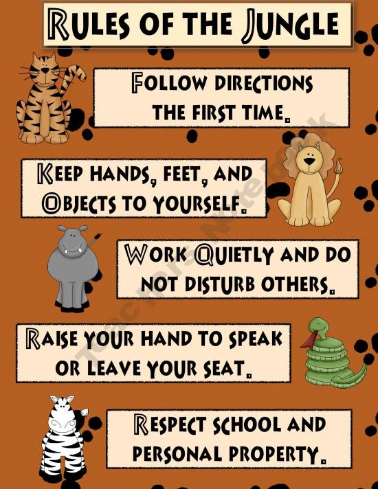 Jungle Theme Classroom Rules...love to have the kiddos create their own rule but this format is great..