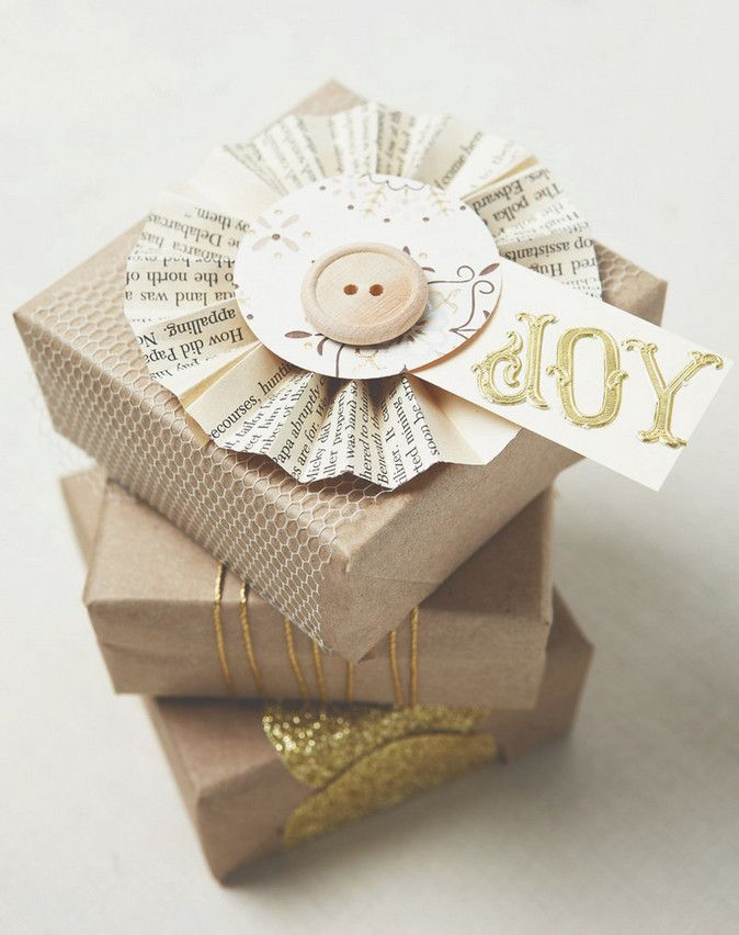 Book Crafts - Holiday gift packaging - book page paper rosette
