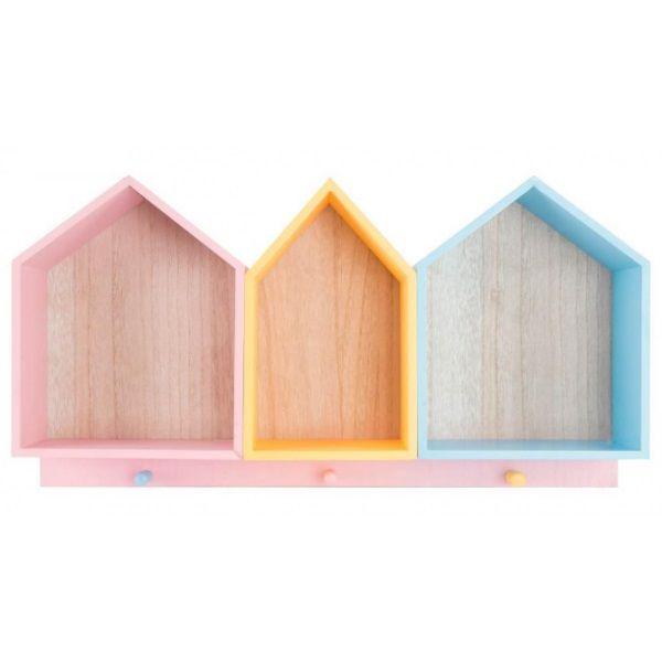 Estantería casitas de madera con perchero de 3 ganchos multicolor. Medidas: 58 x 30 x 10 cm.