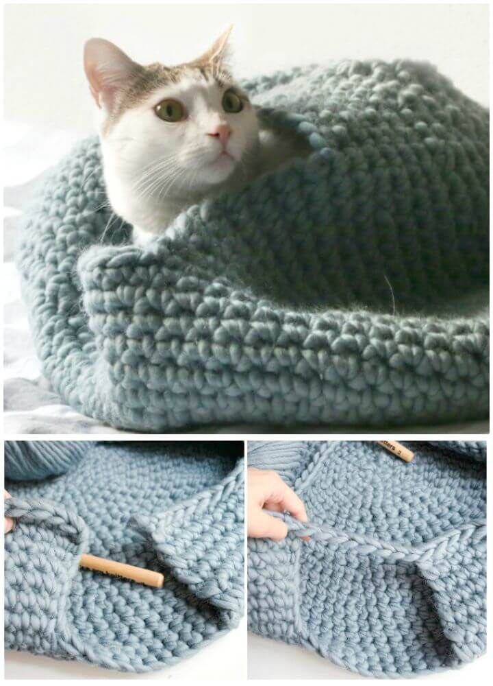 10 Awesome Crochet Cat Bed - Free Patterns - DIY 4 EVER | 1000x720