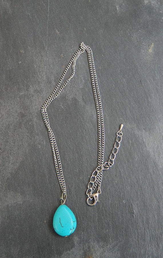 turquoise color necklace gift for her charm necklace for a