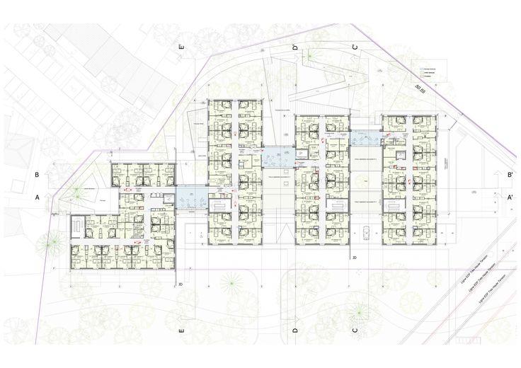 Plan de l'étage. Les unités d'hébergement classiques se développent le long d'un seule circulation ponctuée de salons d'étage largement ouverts sur le paysage extérieur.