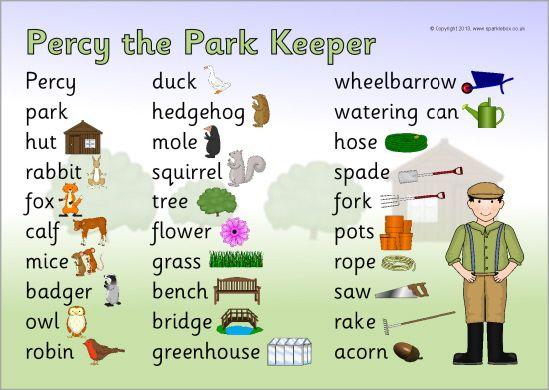 Percy the Park Keeper word mat (SB10146) - SparkleBox