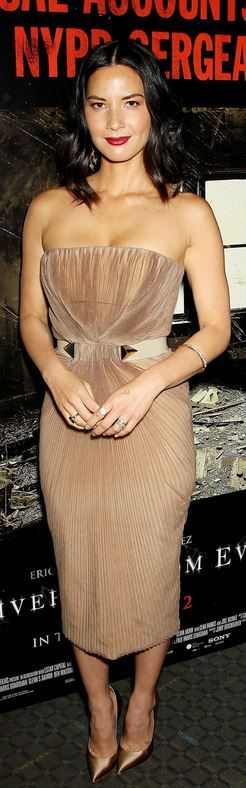 Olivia Munn�s tan strapless dress, jewelry, handbag, and pumps that she wore in New York on June 24, 2014 Via ~LadyLuxury~