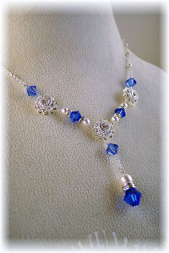New Swarovski Sapphire Crystal/Pearl Pendant by HisJewelsCreations, $44.95