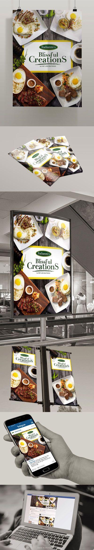 Created by Ikie Binoya Design & Photography www.ikiebinoya.com #graphic #design #poster #food #italiannis #print #campaign #restaurant #breakfast #morning #meat #steak #inspiration