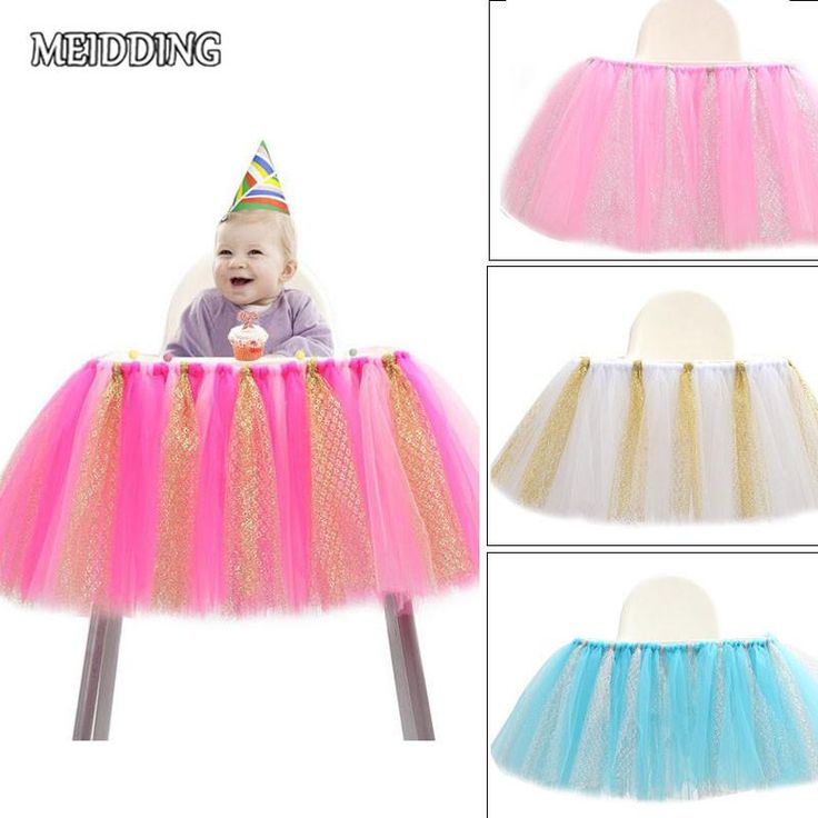 MEIDDING-91.5cm*35cm baby High Chair Tutu/table skirt baby shower First Birthday Party Tutus for home party supplies