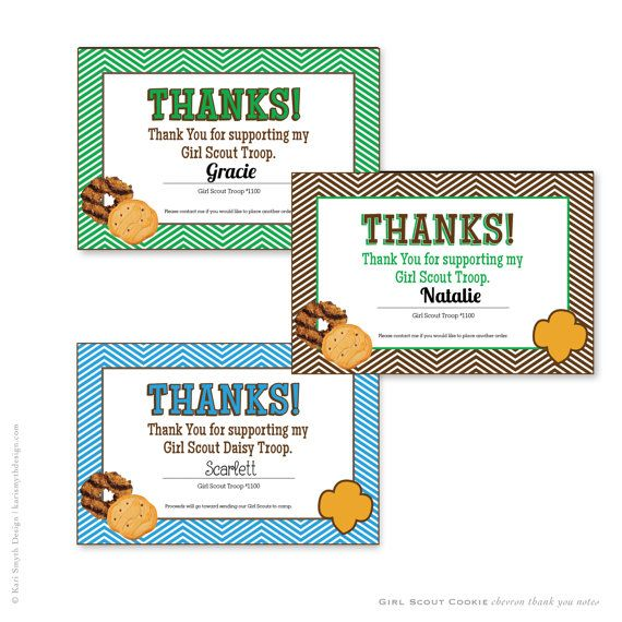 cookie fundraiser chevron thank you notecards