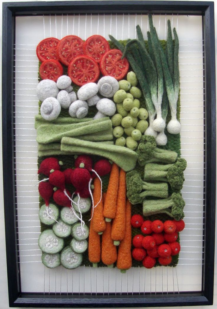 Martina Celerin - Needle-felt & 3D weaving fiber artist Isn't this the most realistic looking tray of veggies. For being felt I am truly impressed
