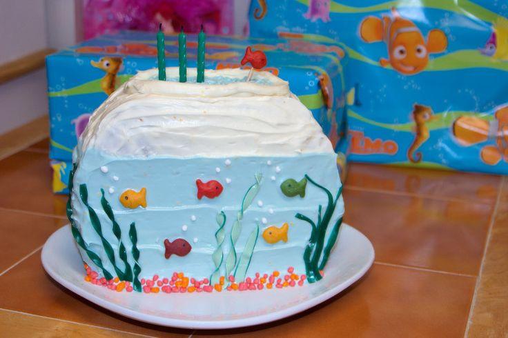 Birthday Bowl: Fish Bowl Cake Made With Two Round Cakes, Goldfish, Nerds