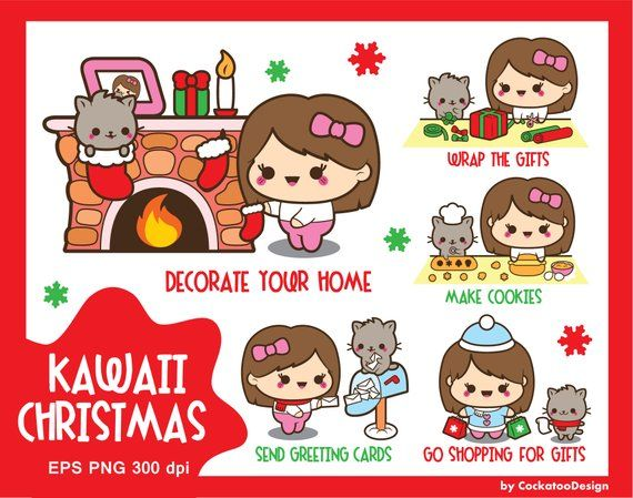 Kawaii Christmas clip art, fireplace clipart, kawaii girl clip art