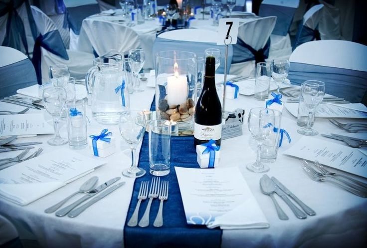 Linen & Chair Covers : Party Hire blue and silver table decorations Jukeboxes | All about Real Weddings - Wedding Blog