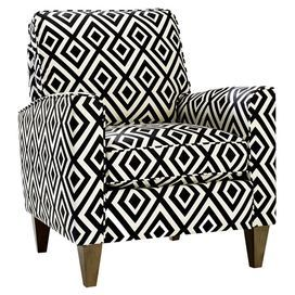 """Add an eye-catching touchto your living room or master suite with thismidcentury-inspired arm chair, showcasing geometric-print upholstery and square tapered legs. Made in the USA.     Product: ChairConstruction Material: Wood, polyurethane foam and cottonColor: Black and whiteFeatures:  Made in the USAEnvelope armsLoose pillow backTapered legs Dimensions: 35.5"""" H x 32.5"""" W x 29.5"""" D"""