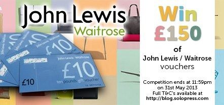 Solopress – The UK's fastest online printers are offering you the chance to win £150 of vouchers to spend at John Lewis and Waitrose in our competition this month.  http://blog.solopress.com/competitions/win-john-lewis-waitrose-vouchers/