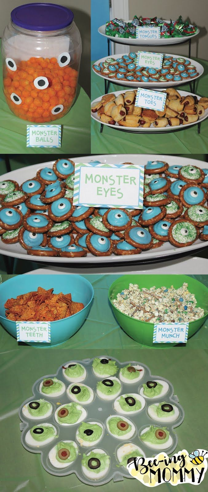 Monster Birthday Party theme food and label ideas - monster tongues, monster eyes, monster teeth