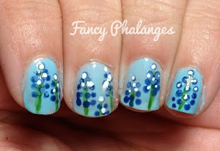 Texas blue bonnet nails, so cute!