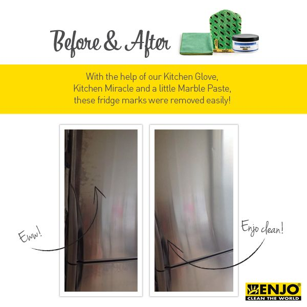 ENJO's Kitchen Glove, Miracle and a little Marble Paste removes grubby finger print marks from the fridge with ease.