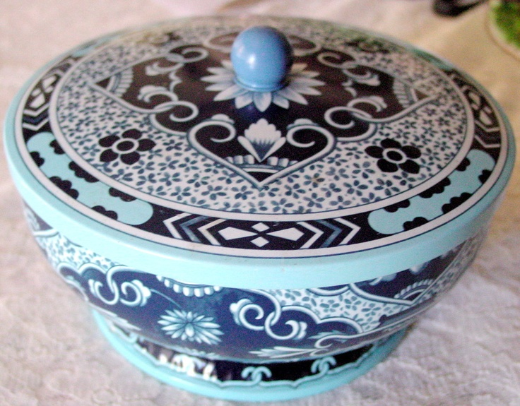 Cot In A Box Morocco Turquoise: Daher Home Decor Vintage Decorative Collector Tin Box With
